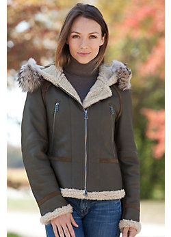 Women's Covina Shearling Sheepskin Bomber Jacket with Raccoon Fur Trim