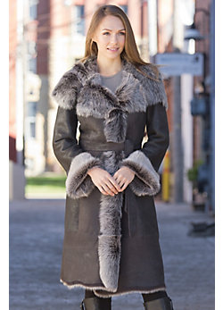 Verona Shearling Sheepskin Coat with Toscana Trim