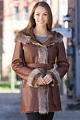 Women's Pesca Shearling Sheepskin Coat with Toscana Trim