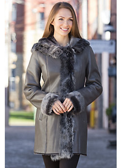 Women's Dora Shearling Sheepskin Coat with Toscana Trim