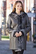 Dora Shearling Sheepskin Coat with Toscana Trim