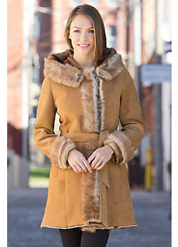 Doris Shearling Sheepskin Coat with Toscana Trim