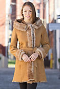 Women's Doris Shearling Sheepskin Coat with Toscana Trim