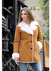 Women's Lucille Shearling Sheepskin Coat With Toscana Trim