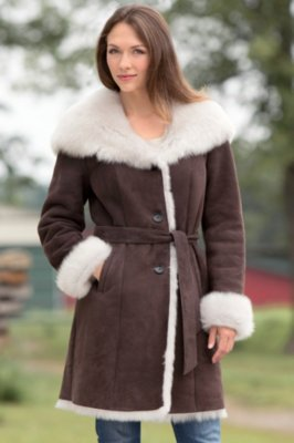 Liane Shearling Sheepskin Coat with Toscana Trim