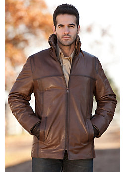 Men's Grayson Lambskin Leather Jacket with Shearling Lining