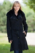 Women's Nadira Shearling Sheepskin Coat with Fox Fur Trim