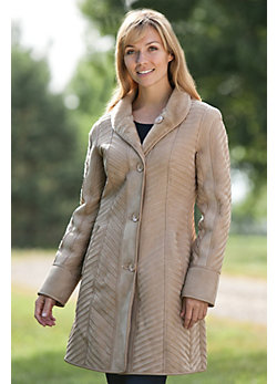 Women's Edda Reversible Shearling Sheepskin Coat with Leather Trim