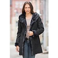 Women's Gloria Hooded Shearling Sheepskin Coat, Black Briesa, Size Small (6) Western & Country