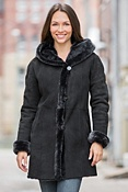 Women's Gloria Hooded Shearling Sheepskin Coat
