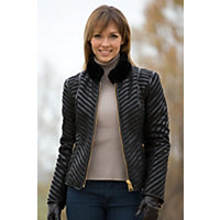 Women's Leona Leather And Shearling Jacket, Black, Size Medium (8) Western & Country