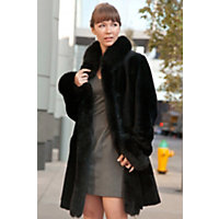 Women's Chantal Reversible Sheepskin Coat With Fox Fur Trim, Black, Size Small (6) Western & Country
