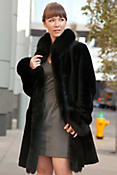 Women's Chantal Reversible Sheepskin Coat with Black Fox Fur Trim