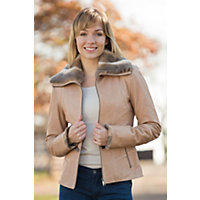 Women's Daria Lambskin Leather Jacket with Rabbit Fur Trim, BISCUIT, Size MEDIUM (8)