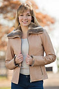 Women's Daria Lambskin Leather Jacket with Rabbit Fur Trim