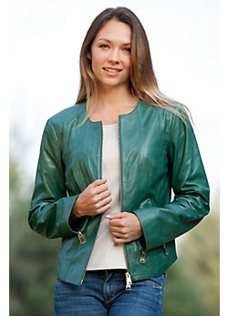 Women's Jade Lambskin Leather Jacket