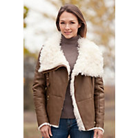 Women's Redondo Shearling Sheepskin Jacket With Curly Lamb Fur Collar, Brown / Cream, Size Medium (8) Western & Country