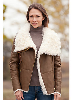Women's Redondo Shearling Sheepskin Jacket with Curly Lamb Fur Collar