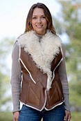 Women's Carmen Shearling Sheepskin Vest with Curly Lamb Wool Collar