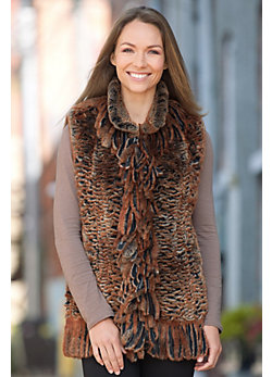 Donna Knitted Rex Rabbit Fur Vest with Fringe