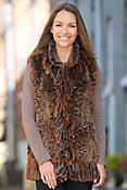 Women's Donna Knitted Rex Rabbit Fur Vest with Fringe