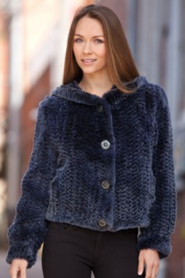 Rona Knitted Rabbit Fur Jacket