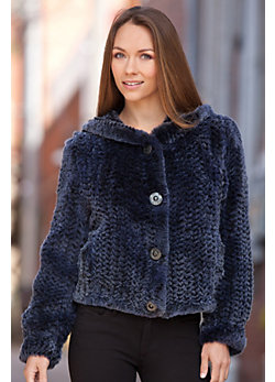 Women's Rona Hooded Rabbit Fur Jacket