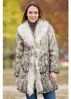 Women's Dorothy Knitted Mink Fur Coat with Raccoon Fur Trim