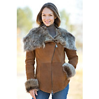 Women's Tracy Hooded Toscana Sheepskin Jacket, Cognac Briesa, Size Small (6) Western & Country