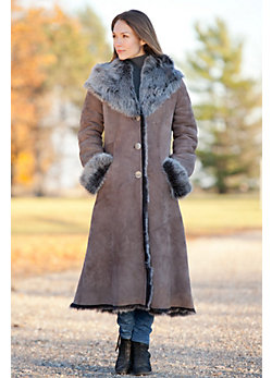 Women's Dakota Hooded Toscana Sheepskin Coat