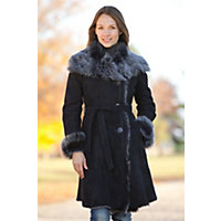 Women's Sharon Belted Shearling Sheepskin Coat With Toscana Trim, Dark Blue, Size Medium (8-10) Western & Country