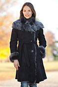 Women's Sharon Belted Shearling Sheepskin Coat with Toscana Trim