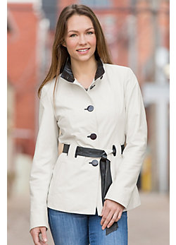 Tribeca Belted Lambskin Leather Coat