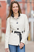 Women's Tribeca Belted Lambskin Leather Coat