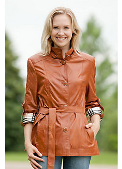 Women's Betsy Hooded Italian Leather Jacket