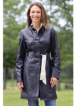 Paulette Lambskin Leather Coat