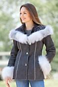 Women's Irma Shearling Sheepskin Jacket with Fox Fur Trim