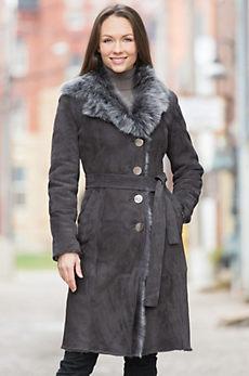Adele Shearling Sheepskin Coat with Toscana Trim