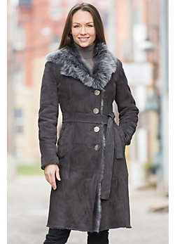 Women's Adele Shearling Sheepskin Coat with Toscana Trim
