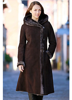Women's Nanette Spanish Merino Shearling Sheepskin Hooded Coat