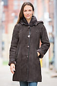 Women's Yolanda Hooded Shearling Sheepskin Coat with Lambskin Leather Trim