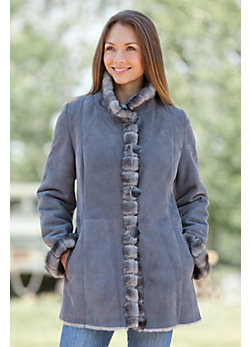 Women's Alberta Shearling Sheepskin Coat with Mink Fur Trim