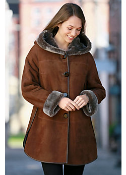 Women's Amity Shearling Sheepskin Coat with Leather Trim