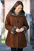 Women's Amity Merino Shearling Sheepskin Hooded Coat with Leather Trim