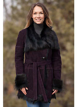 Gail Double-Faced Goatskin Leather Coat
