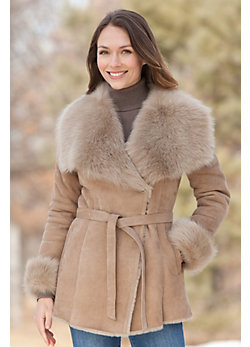Women's Harriet Shearling Sheepskin Coat with Toscana Trim