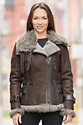 Women's Marlo Shearling Sheepskin Bomber Jacket with Curly Lamb Fur Trim