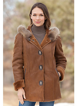 Women's Anya Shearling Sheepskin Coat with Raccoon Fur Trim
