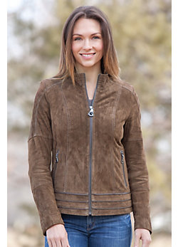 Madigan Sueded Lambskin Leather  Jacket