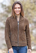 Women's Madigan Sueded Lambskin Leather  Jacket
